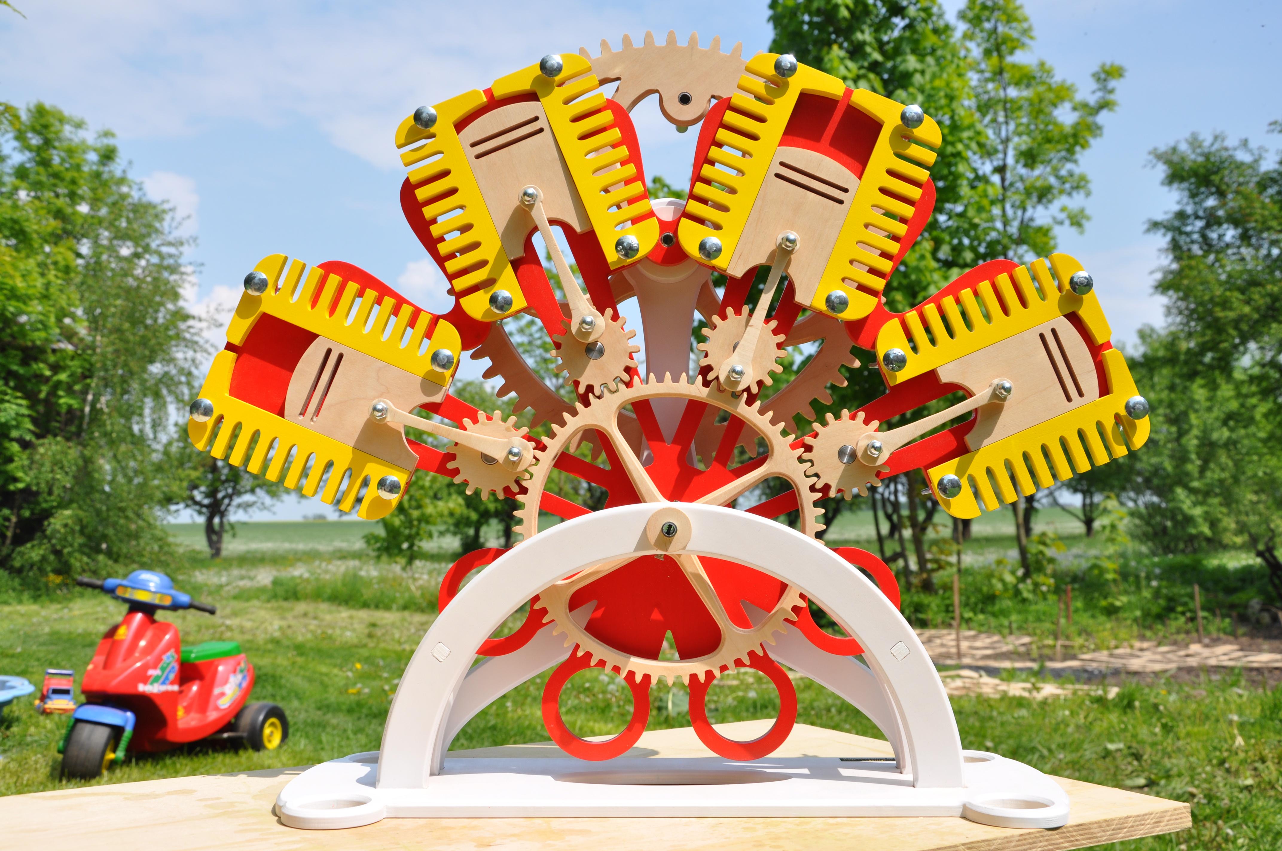 silnik z drewna zabawka edukacyjna